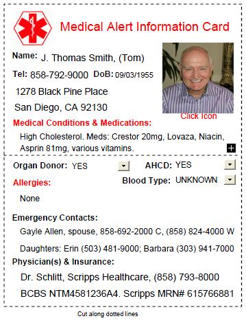 picture relating to Free Printable Emergency Medical Card identify Absolutely free Health-related Warn Card Down load [with Infographic] Mayor Legislation